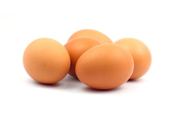 Uovo marrone su sfondo bianco