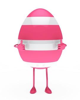 Uovo mostra i pollici fino rosa