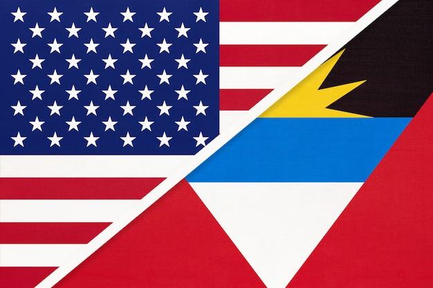 Usa vs antigua e barbuda bandiera nazionale. relazione tra due paesi.