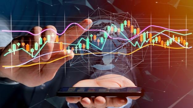 Usng dell'uomo d'affari uno smartphone con un 3d rendono la visualizzazione di informazioni di commercio di borsa valori