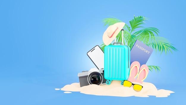 Valigia blu con accessori da viaggio e il concetto di estate nel rendering 3d