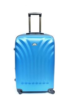 Valigia blu isolata su bianco