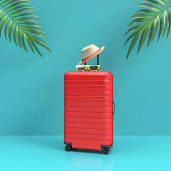 Valigia con accessori da viaggio, elementi essenziali per le vacanze stile minimal su parete pastello