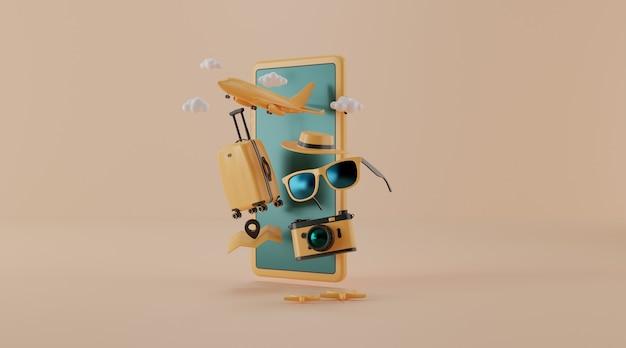 Valigia con aveva e altri elementi essenziali di viaggio, rendering 3d.