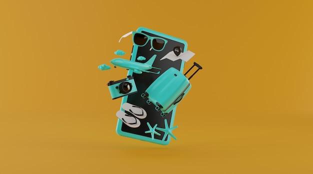 Valigia con smart phone e altri elementi essenziali di viaggio rendering 3d.