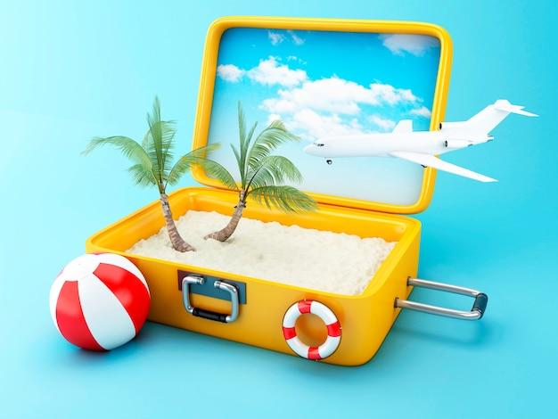 Valigia da viaggio concetto di vacanza al mare