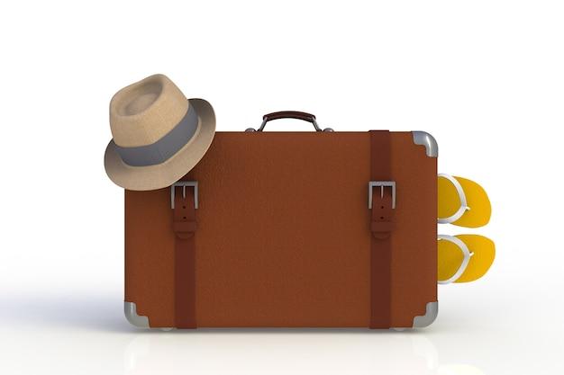 Valigia di un viaggiatore con il cappello di paglia e le infradito isolate su fondo bianco, rappresentazione 3d