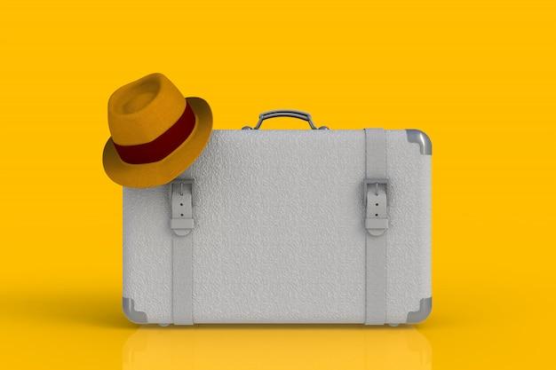 Valigia di un viaggiatore con il cappello di paglia isolato su fondo giallo, rappresentazione 3d
