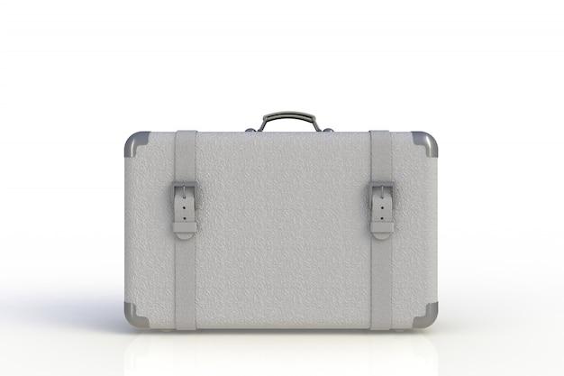 Valigia di un viaggiatore isolato su fondo bianco, rappresentazione 3d