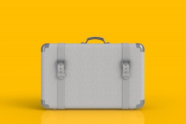 Valigia di un viaggiatore isolato su fondo giallo, rappresentazione 3d