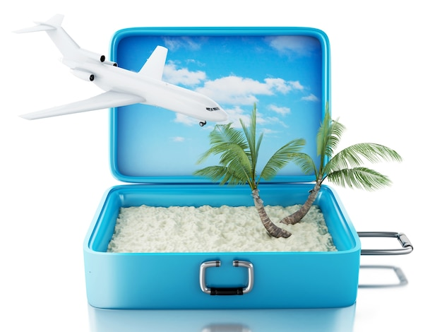 Valigia di viaggio 3d. sfondo bianco isolato