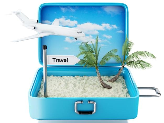 Valigia di viaggio della spiaggia di paradiso 3d. sfondo bianco isolato