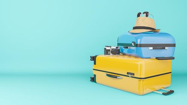 Valigia gialla e blu con cappello da sole e occhiali