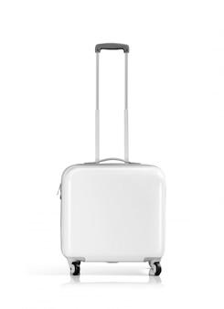Valigia o bagaglio di plastica bianca isolata su bianco