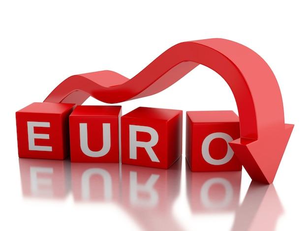 Valore di caduta della freccia rossa 3d dell'euro.