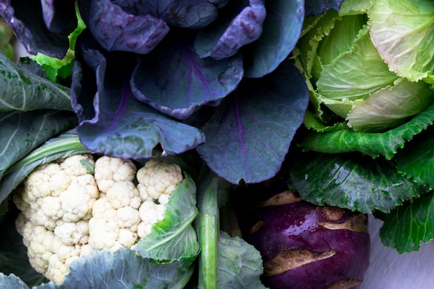 Vari cavolfiori broccoli cavolfiore,