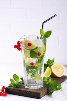 Vari cocktail di limonata o mojito ai frutti di bosco, lime al limone fresco ghiacciato, acqua infusa di ribes rosso, bevande disintossicanti salutari estive sfondo chiaro