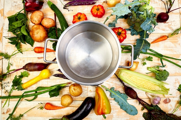 Vari ingredienti di verdure intorno a pentola vuota.