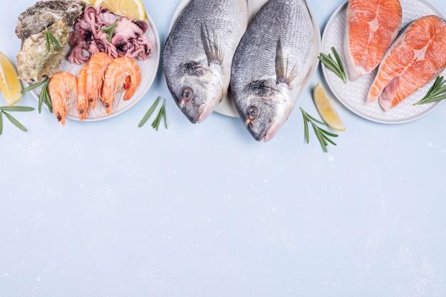 Vari piatti pieni di frutti di mare copia spazio