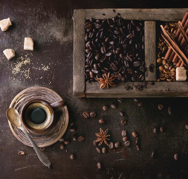 Variazione di chicchi di caffè