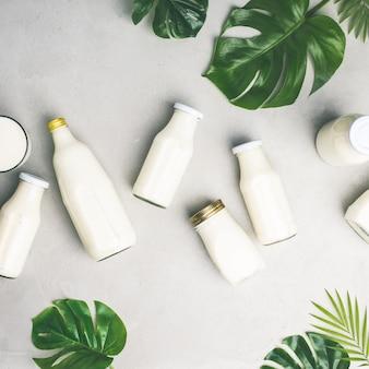 Varie bottiglie di latte e foglie tropicali