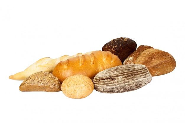Varietà di pane, isolata su bianco