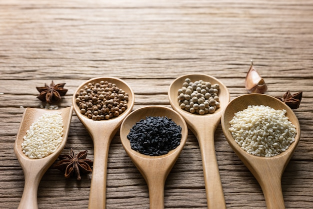 Varietà di spezie tailandesi e indiane e integratori di erbe naturali