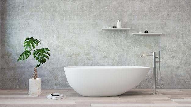 Vasca da bagno bianca che sta in un bagno moderno. rendering 3d. .
