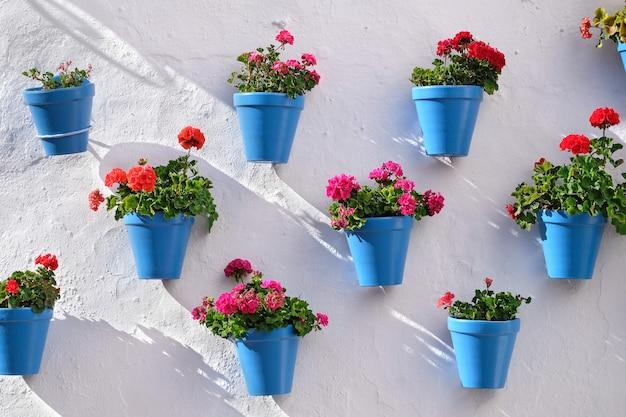 Vasi da fiori che decorano sul muro bianco nella città vecchia di marbella