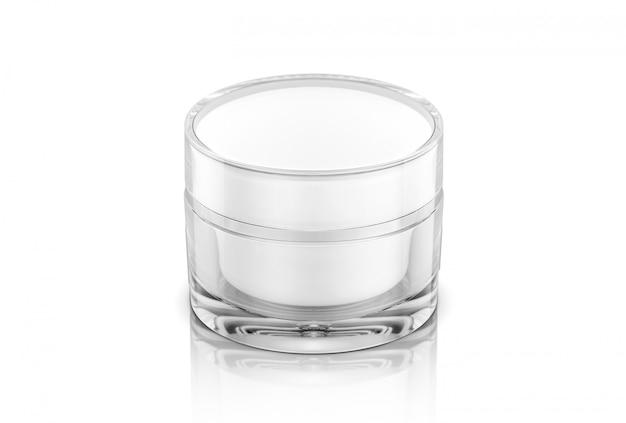 Vaso crema cosmetica trasparente imballaggio vuoto isolato