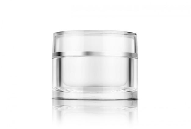 Vaso crema cosmetico chiaro d'imballaggio in bianco isolato su fondo bianco