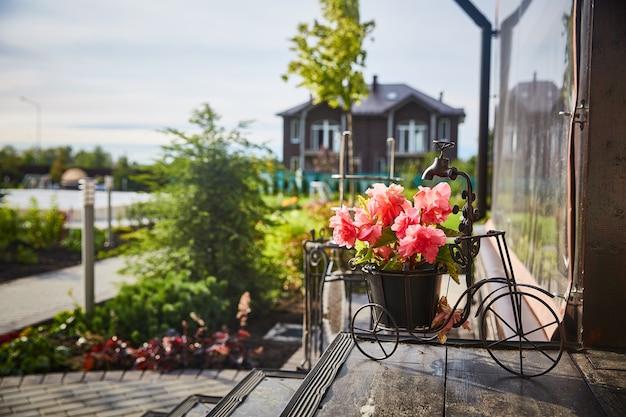 Vaso di fiori nel giardino vicino alla casa