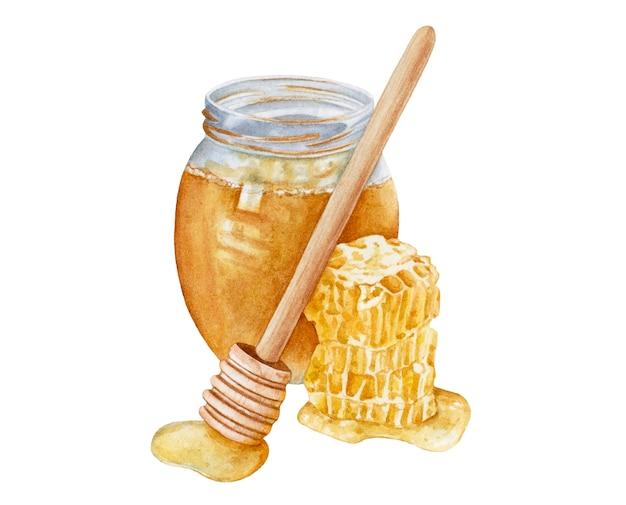 Vaso di miele dell'acquerello, nido d'ape.
