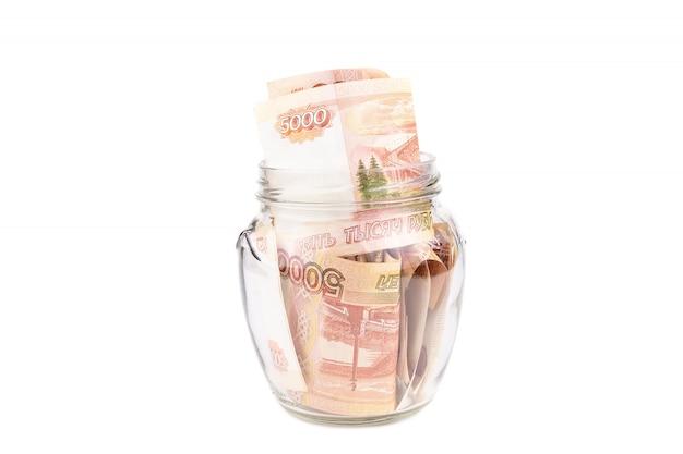 Vaso di vetro con denaro