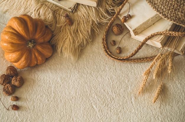 Vecchi libri e borsa di paglia vintage su plaid bianco caldo con zucca, grano, physalis, ghiande e noci. libri e lettura. umore autunnale. tempo d'autunno. accogliente arredamento autunnale