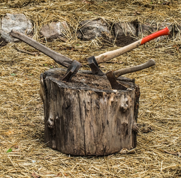 Vecchia ascia bloccata in un moncone, sullo sfondo di paglia
