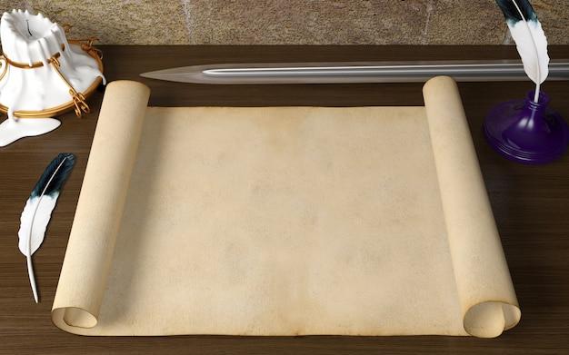 Vecchia carta antica in bianco del rotolo sulla tavola con la penna di spoletta, candela e spada nel tema medievale, rappresentazione 3d