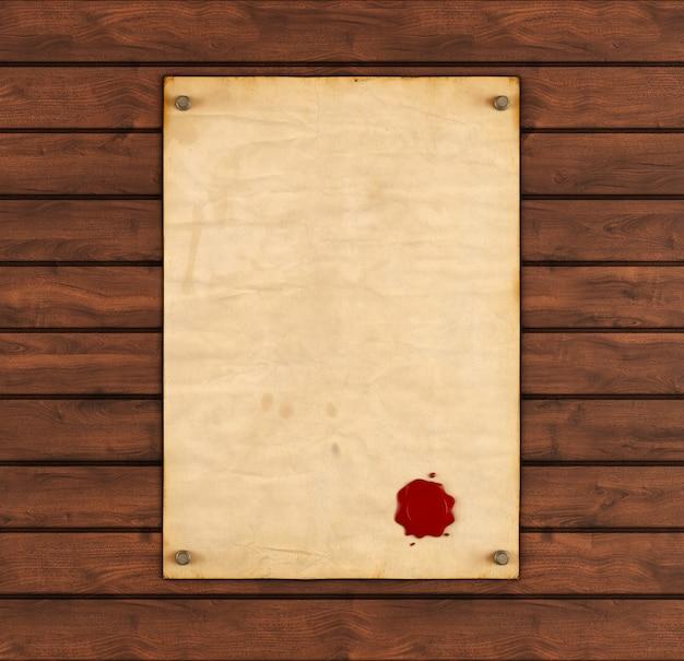 Vecchia carta con sigillo di cera rossa