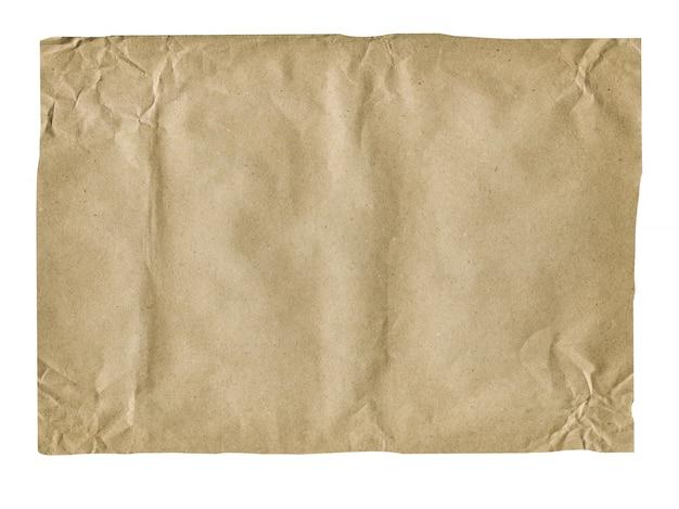 Vecchia carta stropicciata isolato su bianco