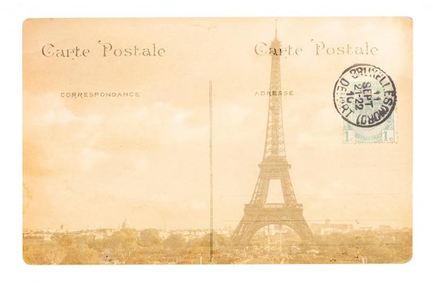 Vecchia cartolina di parigi con la torre eiffel.