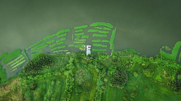Vecchia casa delle rive del fiume di vista superiore aerea e giardino verde
