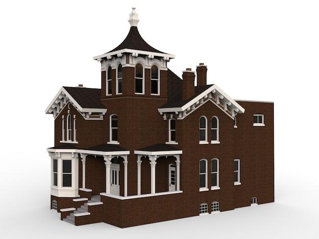Vecchia casa in stile vittoriano. illustrazione su spazio bianco. specie provenienti da diverse parti. rendering 3d.