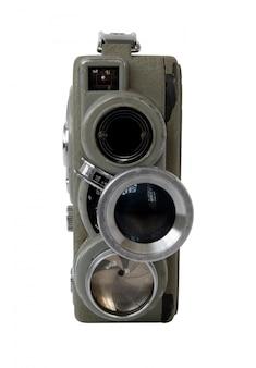Vecchia cinepresa 8mm su sfondo bianco