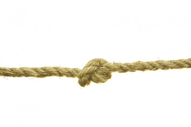 Vecchia corda con il nodo isolato