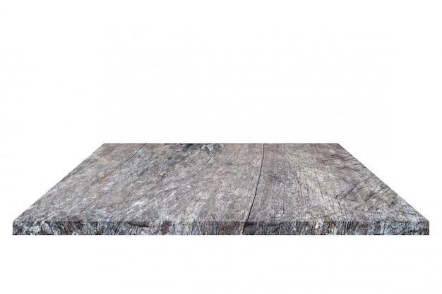 Vecchia mensola di legno marrone vuota isolata su priorità bassa bianca.