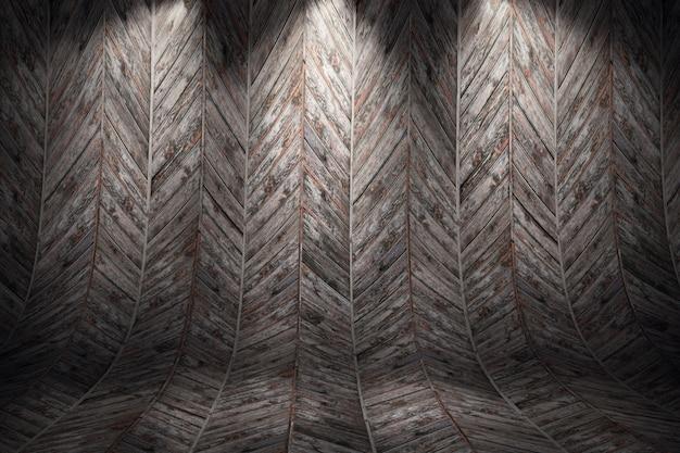 Vecchia priorità bassa di legno curva grungy. illustrazione di rendering 3d