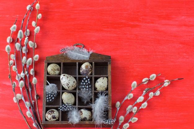 Vecchia scatola con uova di quaglia su uno sfondo rosso, piume e salice - sfondo pasqua.