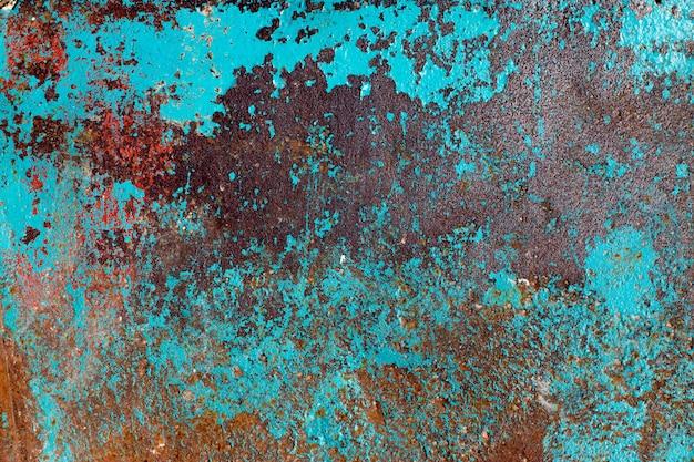 Vecchia struttura arrugginita del metallo, lerciume blu