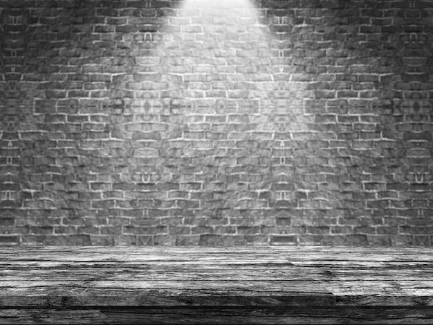 Vecchia tabella di legno 3d che osserva fuori ad un muro di mattoni defocussed