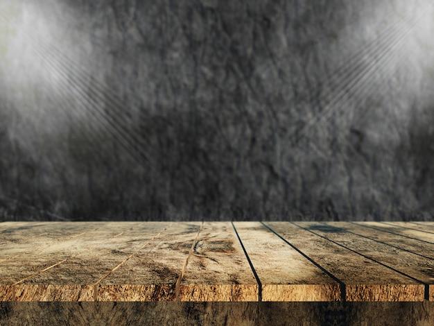 Vecchia tabella di legno 3d che osserva fuori ad una parete di pietra